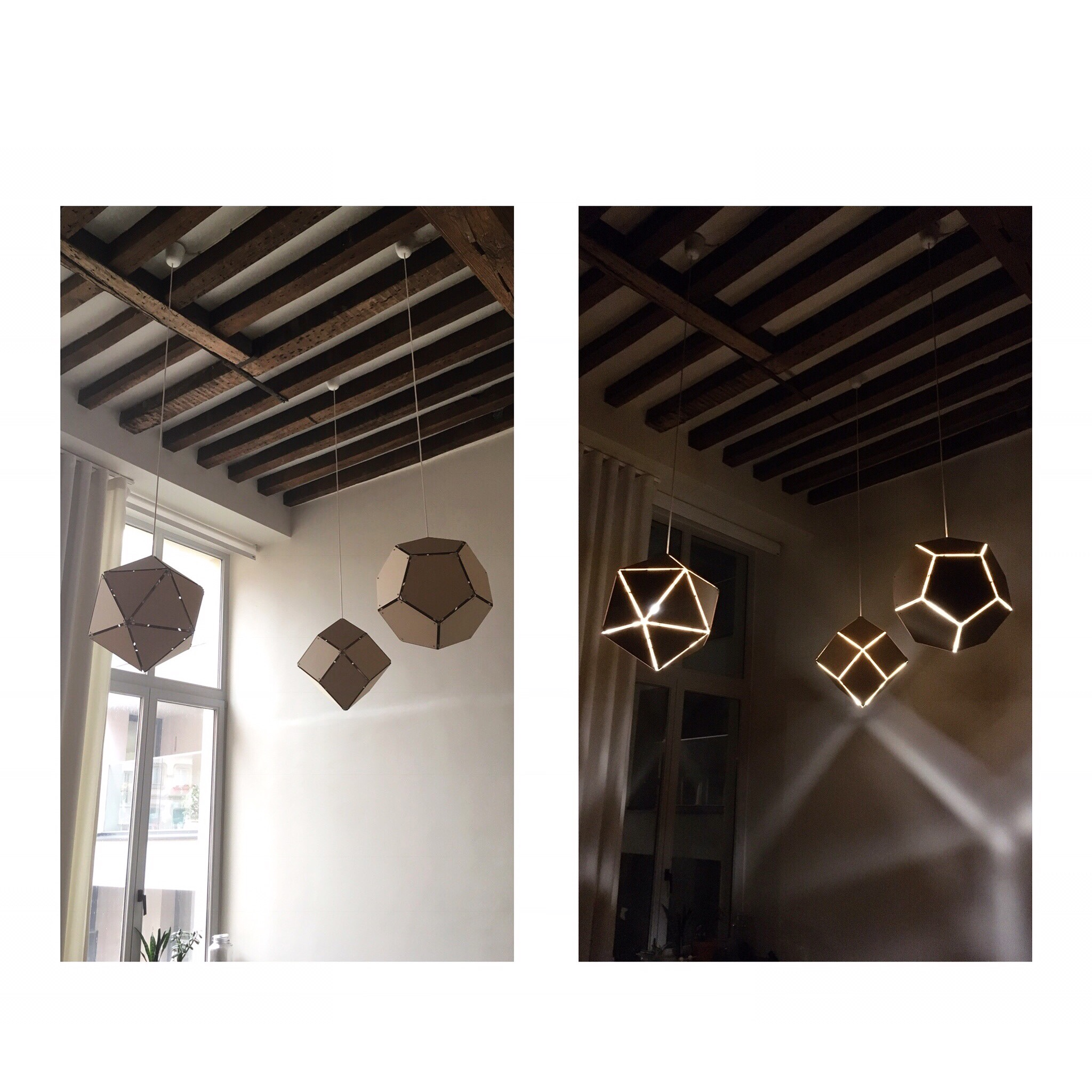 hanglampen - icosahedron, rhombic dodecahedron & dodecahedron (from left to right)